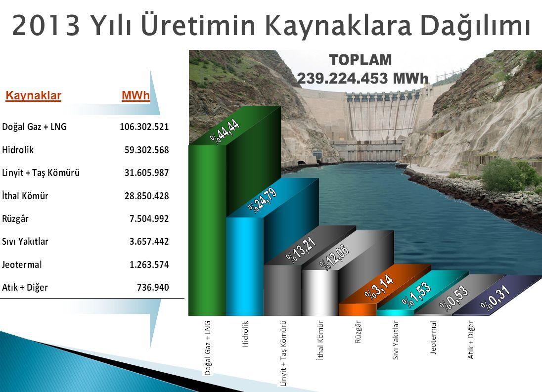 2013 Yılı Üretimin Kaynaklara Dağılımı