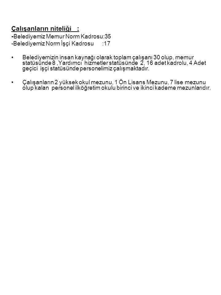 Çalışanların niteliği : -Belediyemiz Memur Norm Kadrosu:35