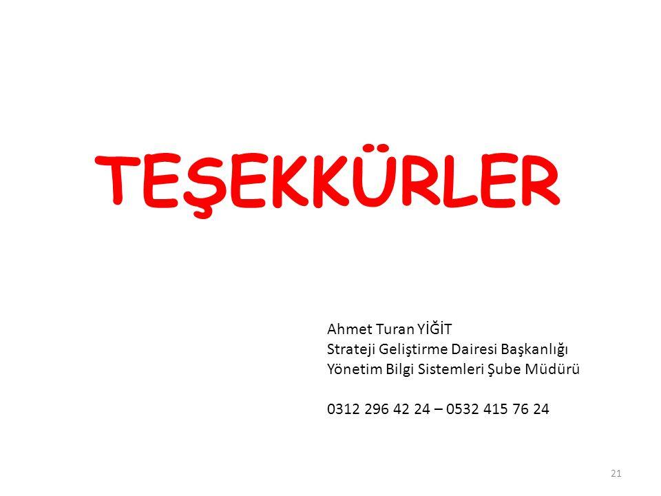 TEŞEKKÜRLER Ahmet Turan YİĞİT Strateji Geliştirme Dairesi Başkanlığı