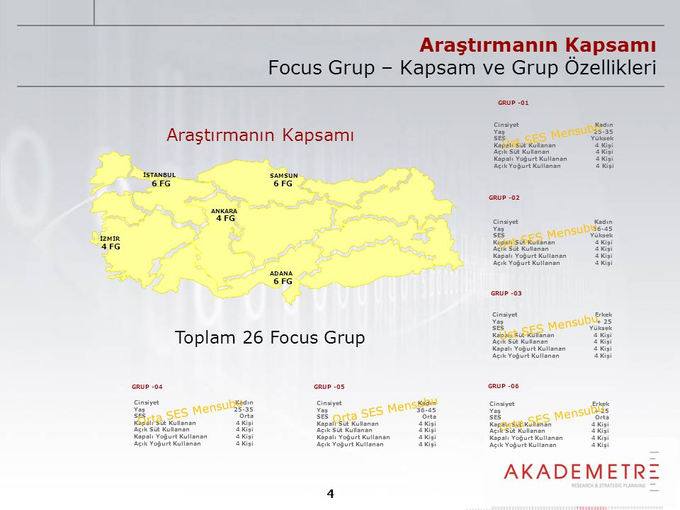 Araştırmanın Kapsamı Focus Grup – Kapsam ve Grup Özellikleri