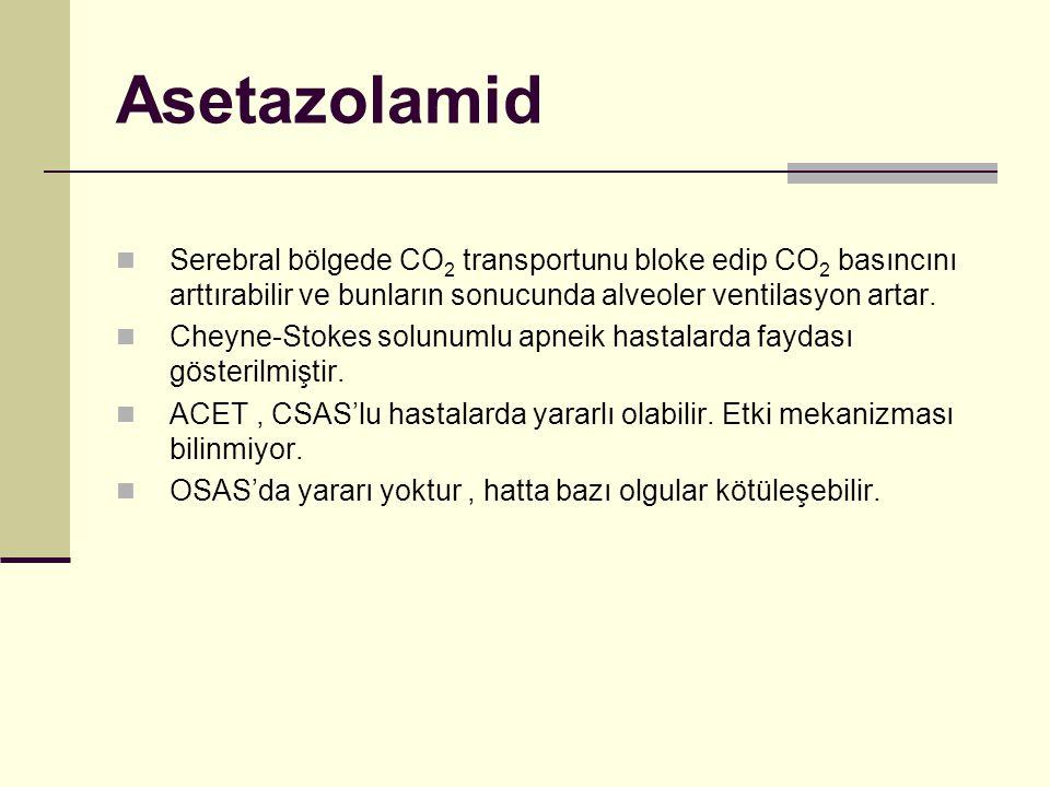 Asetazolamid Serebral bölgede CO2 transportunu bloke edip CO2 basıncını arttırabilir ve bunların sonucunda alveoler ventilasyon artar.