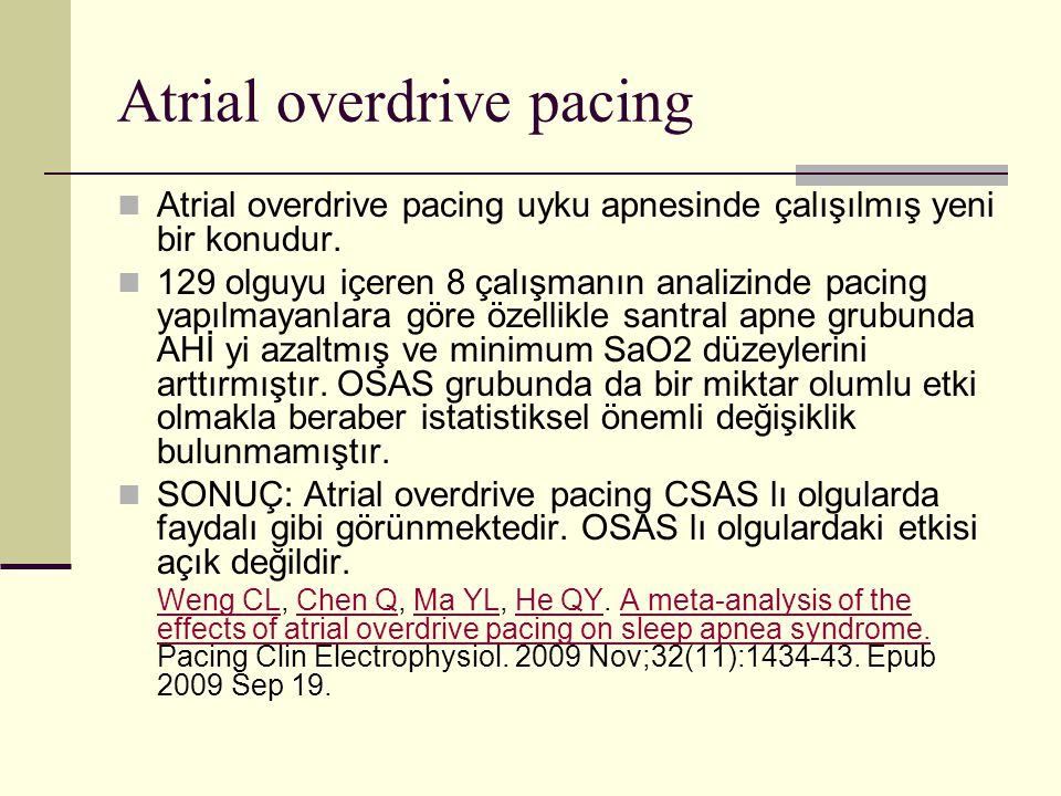 Atrial overdrive pacing
