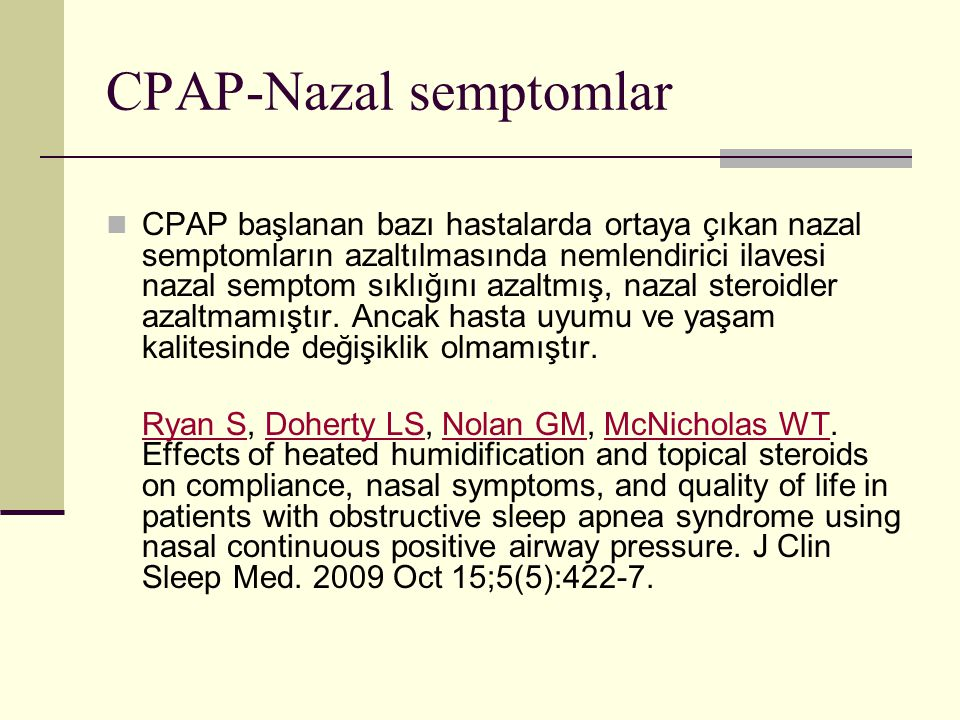 CPAP-Nazal semptomlar