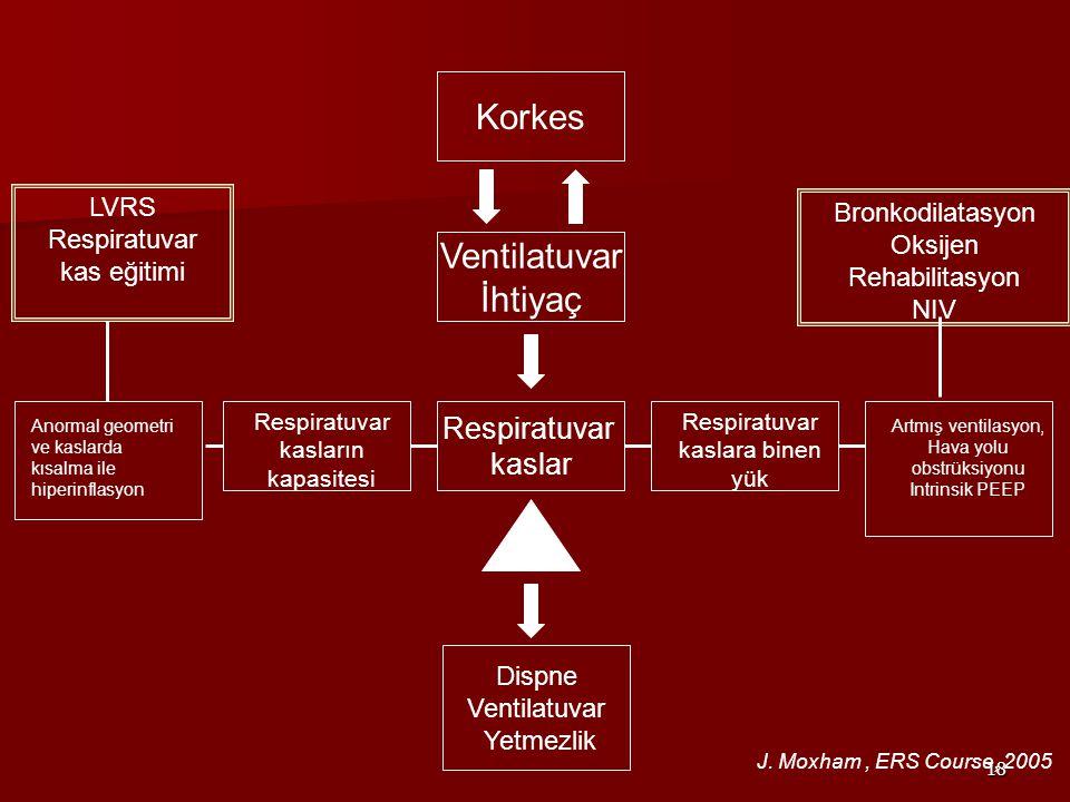 Korkes Ventilatuvar İhtiyaç Respiratuvar kaslar LVRS Bronkodilatasyon