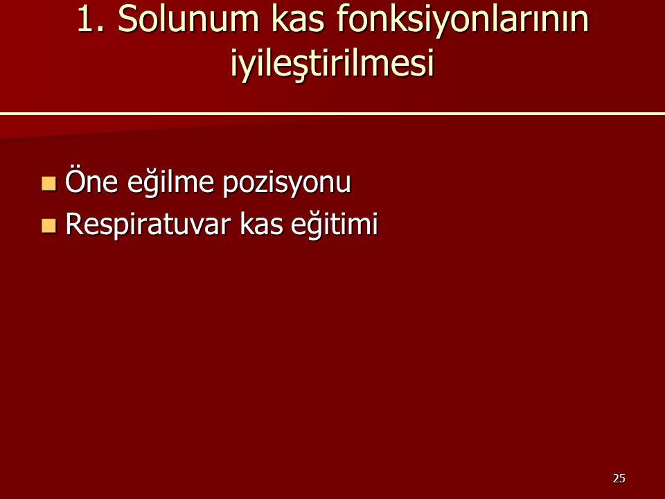 1. Solunum kas fonksiyonlarının iyileştirilmesi