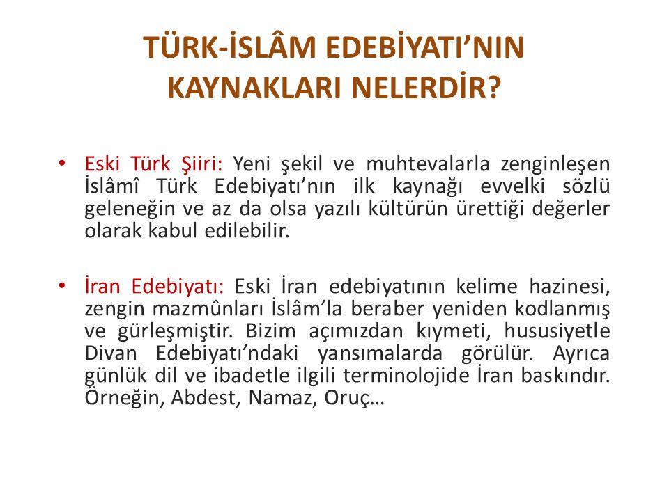 TÜRK-İSLÂM EDEBİYATI'NIN KAYNAKLARI NELERDİR