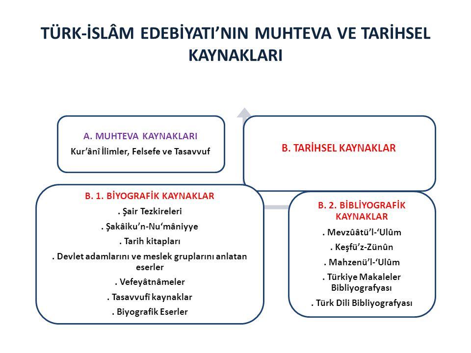 TÜRK-İSLÂM EDEBİYATI'NIN MUHTEVA VE TARİHSEL KAYNAKLARI