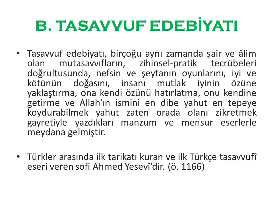 B. TASAVVUF EDEBİYATI