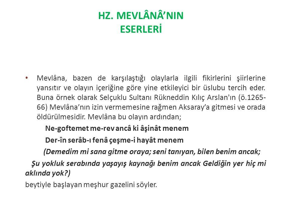 HZ. MEVLÂNÂ'NIN ESERLERİ