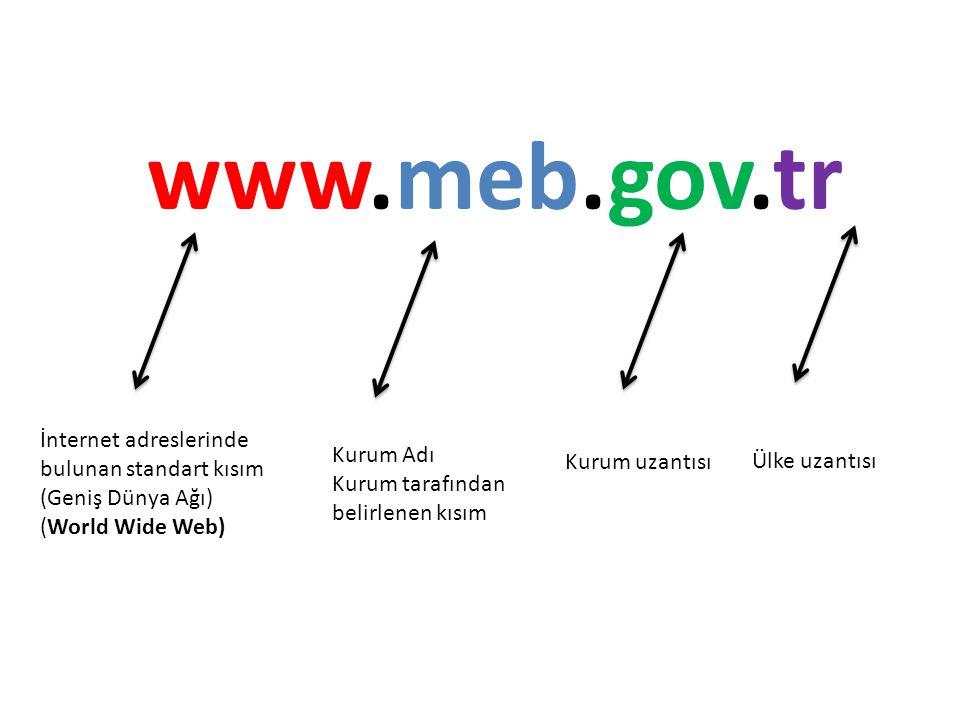 www.meb.gov.tr İnternet adreslerinde bulunan standart kısım