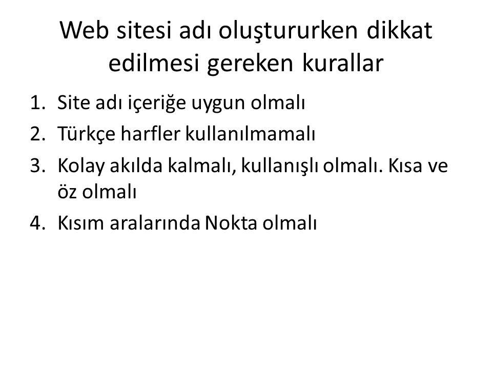 Web sitesi adı oluştururken dikkat edilmesi gereken kurallar