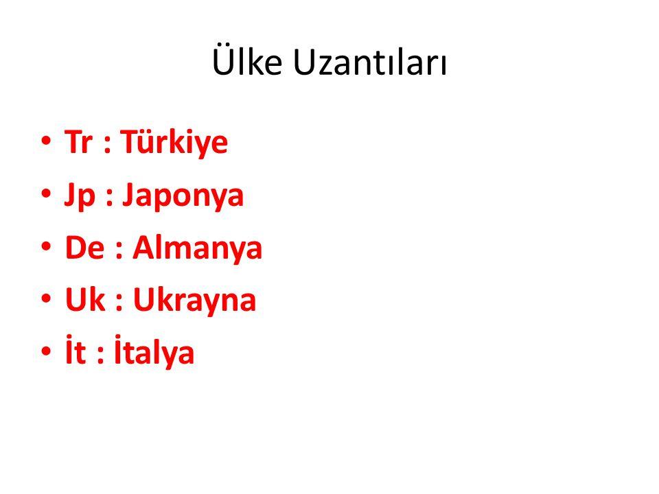 Ülke Uzantıları Tr : Türkiye Jp : Japonya De : Almanya Uk : Ukrayna