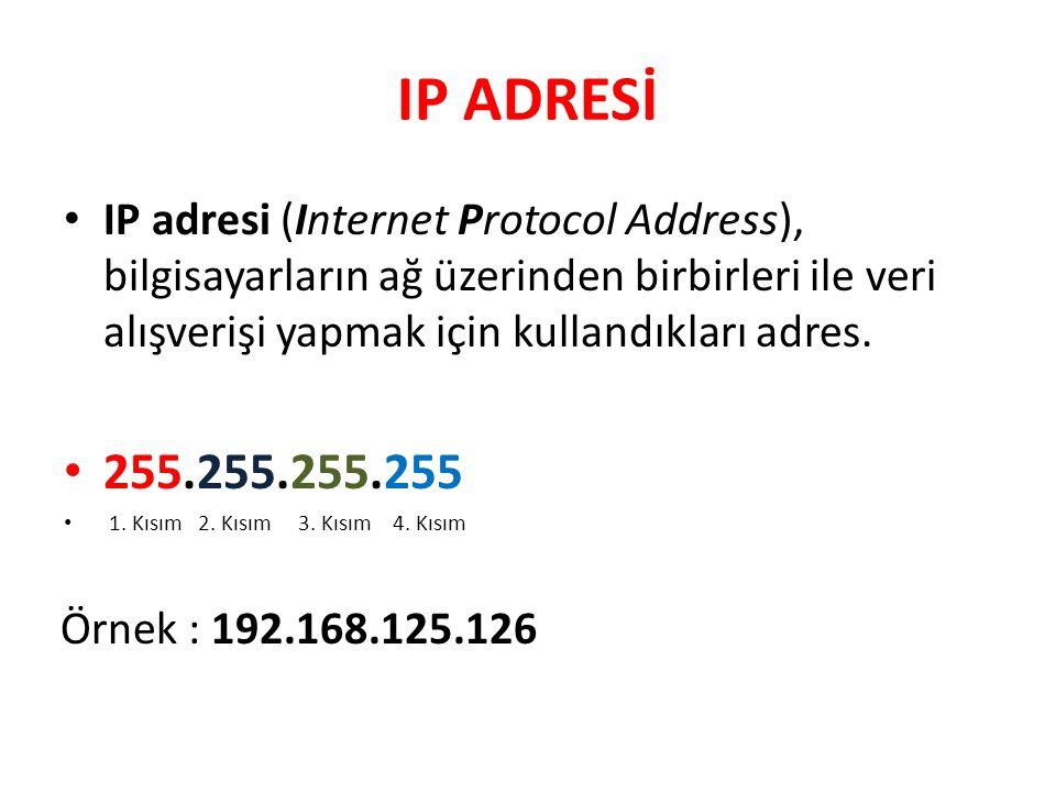 IP ADRESİ IP adresi (Internet Protocol Address), bilgisayarların ağ üzerinden birbirleri ile veri alışverişi yapmak için kullandıkları adres.