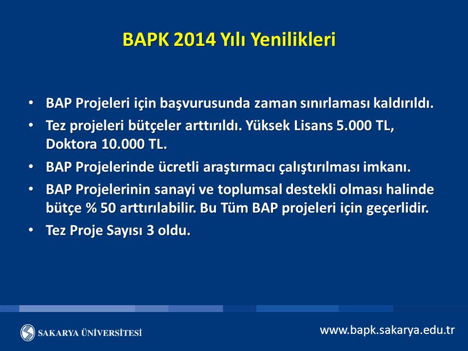 BAPK 2014 Yılı Yenilikleri BAP Projeleri için başvurusunda zaman sınırlaması kaldırıldı.