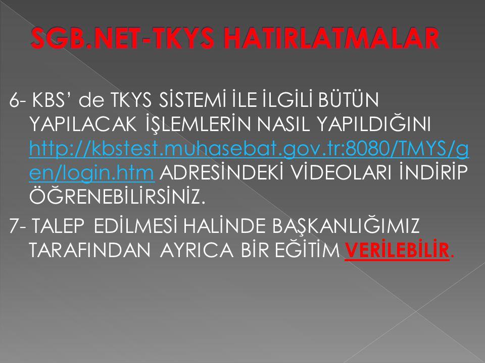 SGB.NET-TKYS HATIRLATMALAR