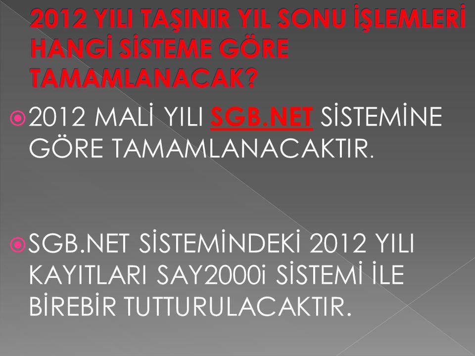2012 YILI TAŞINIR YIL SONU İŞLEMLERİ HANGİ SİSTEME GÖRE TAMAMLANACAK
