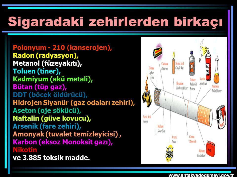 Sigaradaki zehirlerden birkaçı