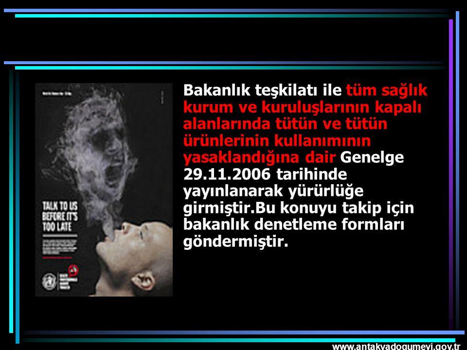 Bakanlık teşkilatı ile tüm sağlık kurum ve kuruluşlarının kapalı alanlarında tütün ve tütün ürünlerinin kullanımının yasaklandığına dair Genelge 29.11.2006 tarihinde yayınlanarak yürürlüğe girmiştir.Bu konuyu takip için bakanlık denetleme formları göndermiştir.
