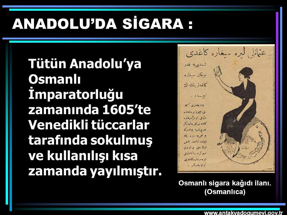 Osmanlı sigara kağıdı ilanı. (Osmanlıca)