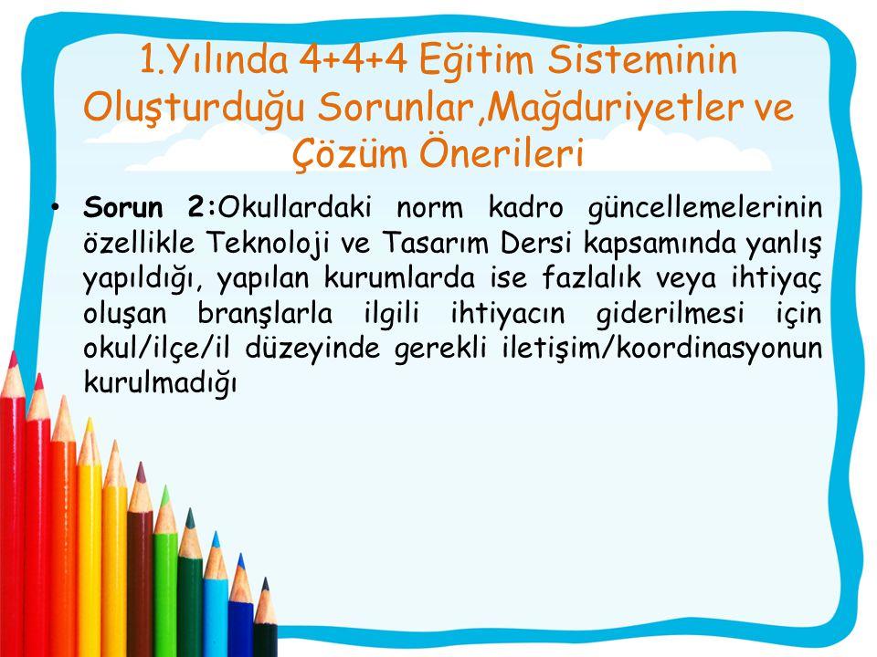 1.Yılında 4+4+4 Eğitim Sisteminin Oluşturduğu Sorunlar,Mağduriyetler ve Çözüm Önerileri