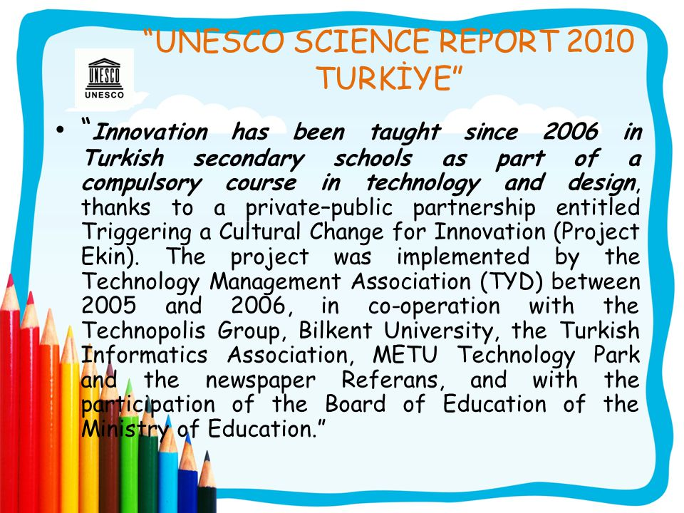 UNESCO SCIENCE REPORT 2010 TURKİYE