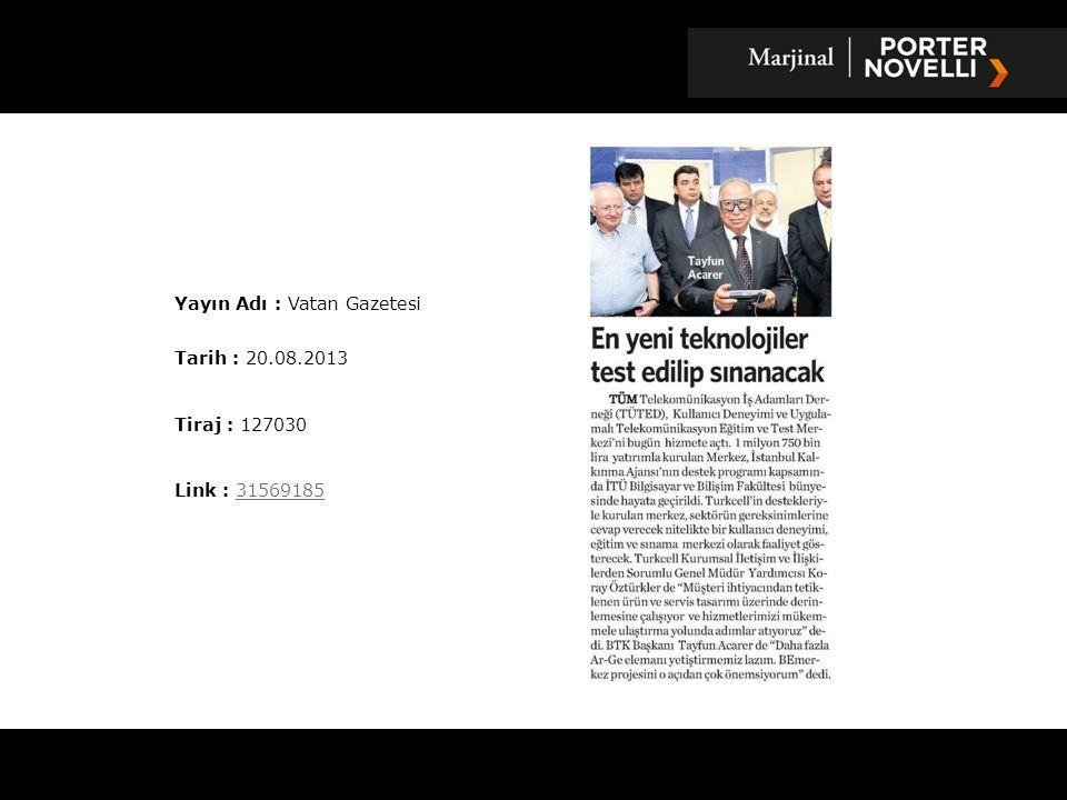 Yayın Adı : Vatan Gazetesi
