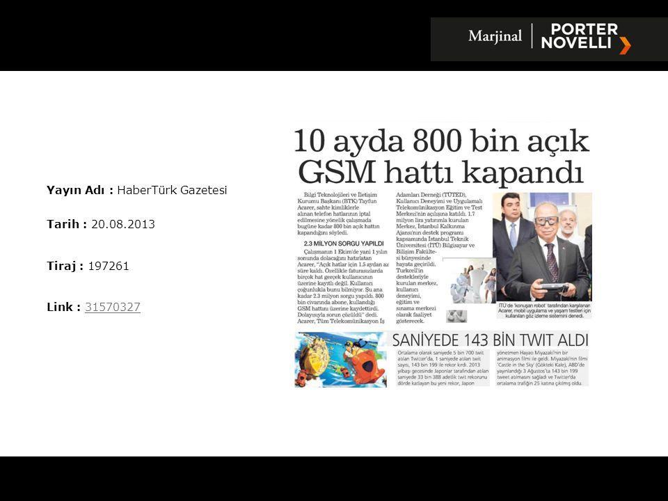 Yayın Adı : HaberTürk Gazetesi
