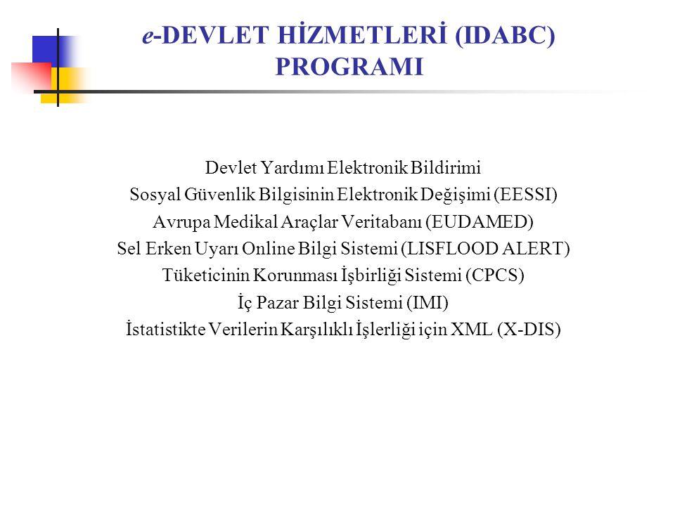 e-DEVLET HİZMETLERİ (IDABC) PROGRAMI