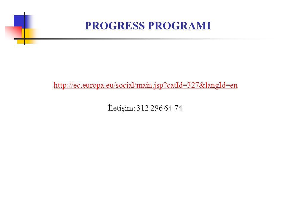 PROGRESS PROGRAMI http://ec.europa.eu/social/main.jsp catId=327&langId=en İletişim: 312 296 64 74