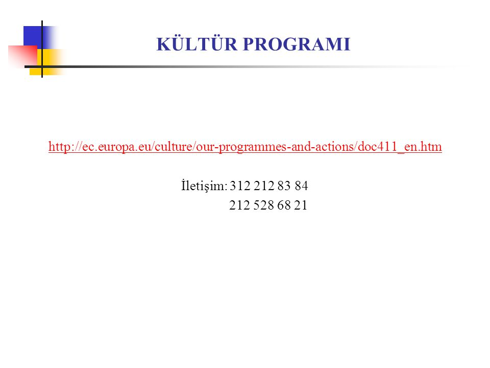KÜLTÜR PROGRAMI http://ec.europa.eu/culture/our-programmes-and-actions/doc411_en.htm. İletişim: 312 212 83 84.