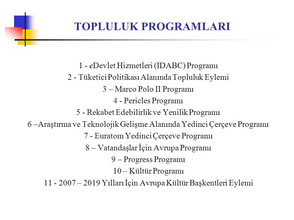 TOPLULUK PROGRAMLARI 1 - eDevlet Hizmetleri (IDABC) Programı