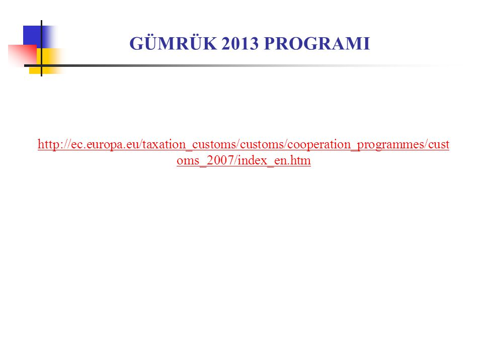 GÜMRÜK 2013 PROGRAMI http://ec.europa.eu/taxation_customs/customs/cooperation_programmes/customs_2007/index_en.htm.