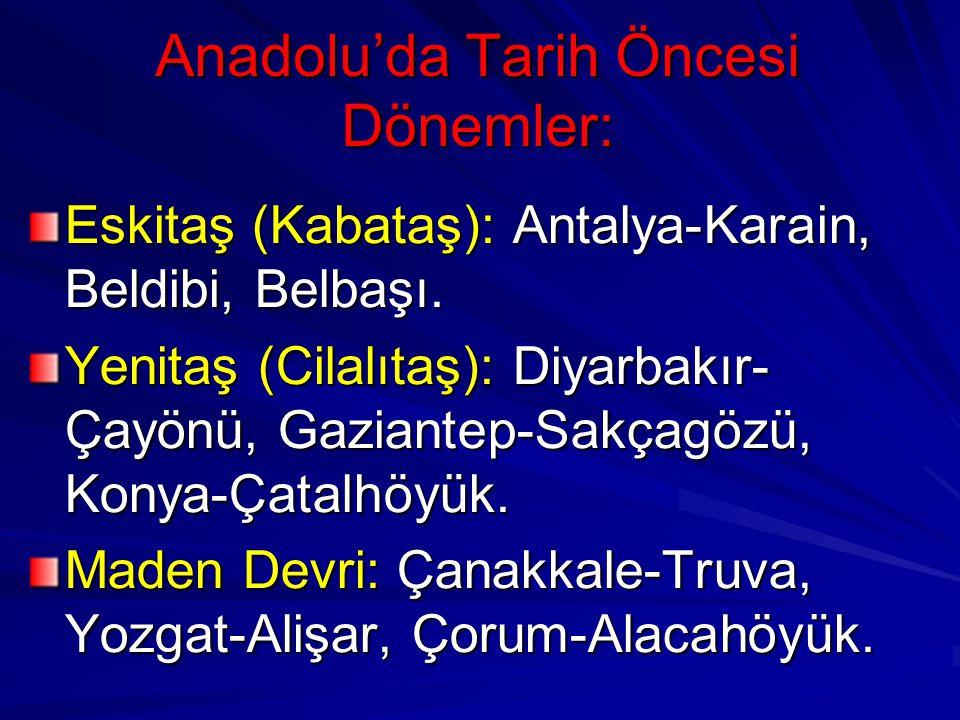 Anadolu'da Tarih Öncesi Dönemler:
