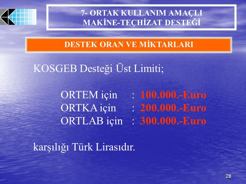 KOSGEB Desteği Üst Limiti; ORTEM için : 100.000.-Euro