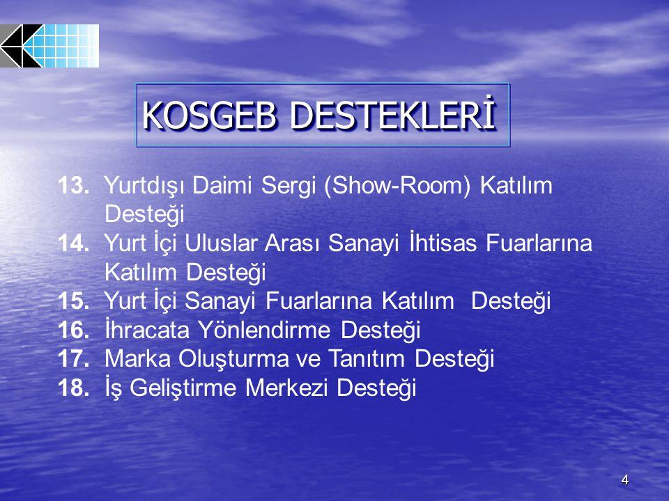 KOSGEB DESTEKLERİ 13. Yurtdışı Daimi Sergi (Show-Room) Katılım Desteği