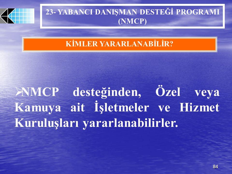 23- YABANCI DANIŞMAN DESTEĞİ PROGRAMI (NMCP) KİMLER YARARLANABİLİR
