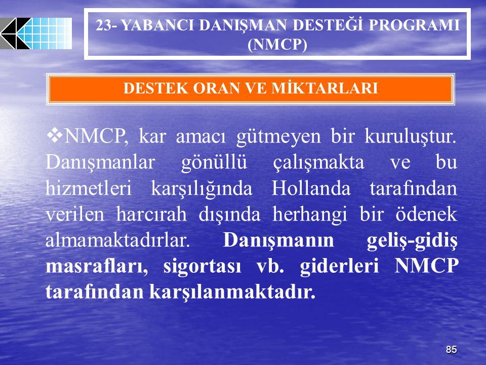 23- YABANCI DANIŞMAN DESTEĞİ PROGRAMI (NMCP) DESTEK ORAN VE MİKTARLARI