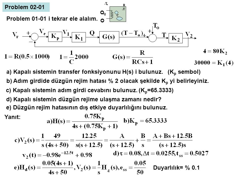 o Problem 02-01 Problem 01-01 i tekrar ele alalım.