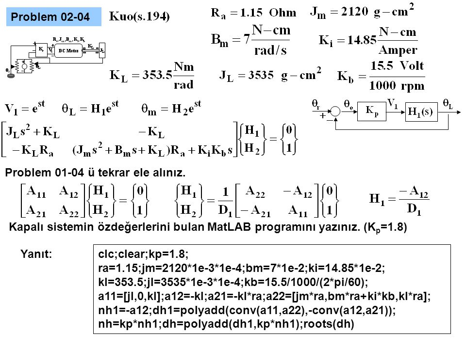 Problem 02-04 Problem 01-04 ü tekrar ele alınız. Kapalı sistemin özdeğerlerini bulan MatLAB programını yazınız. (Kp=1.8)