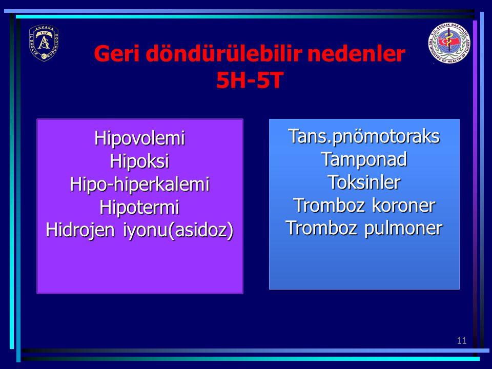 Geri döndürülebilir nedenler 5H-5T