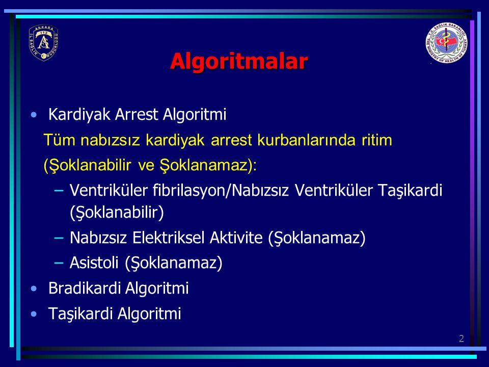 Algoritmalar Kardiyak Arrest Algoritmi