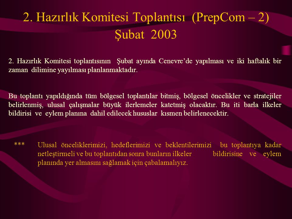 2. Hazırlık Komitesi Toplantısı (PrepCom – 2) Şubat 2003