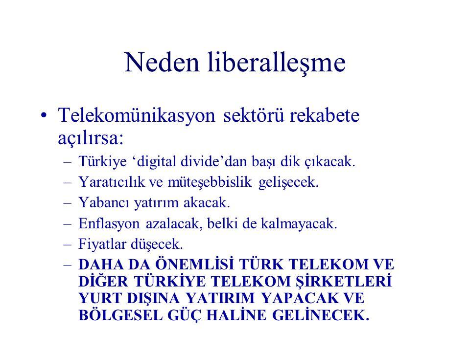Neden liberalleşme Telekomünikasyon sektörü rekabete açılırsa: