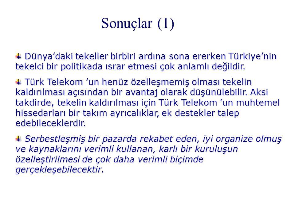 Sonuçlar (1) Dünya'daki tekeller birbiri ardına sona ererken Türkiye'nin tekelci bir politikada ısrar etmesi çok anlamlı değildir.