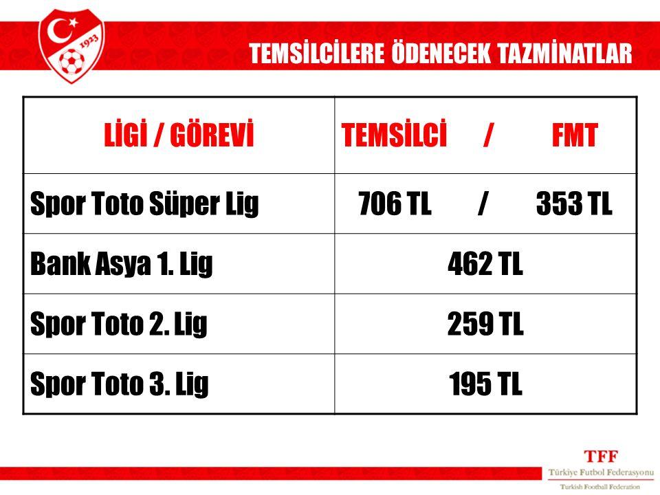 LİGİ / GÖREVİ TEMSİLCİ / FMT Spor Toto Süper Lig 706 TL / 353 TL