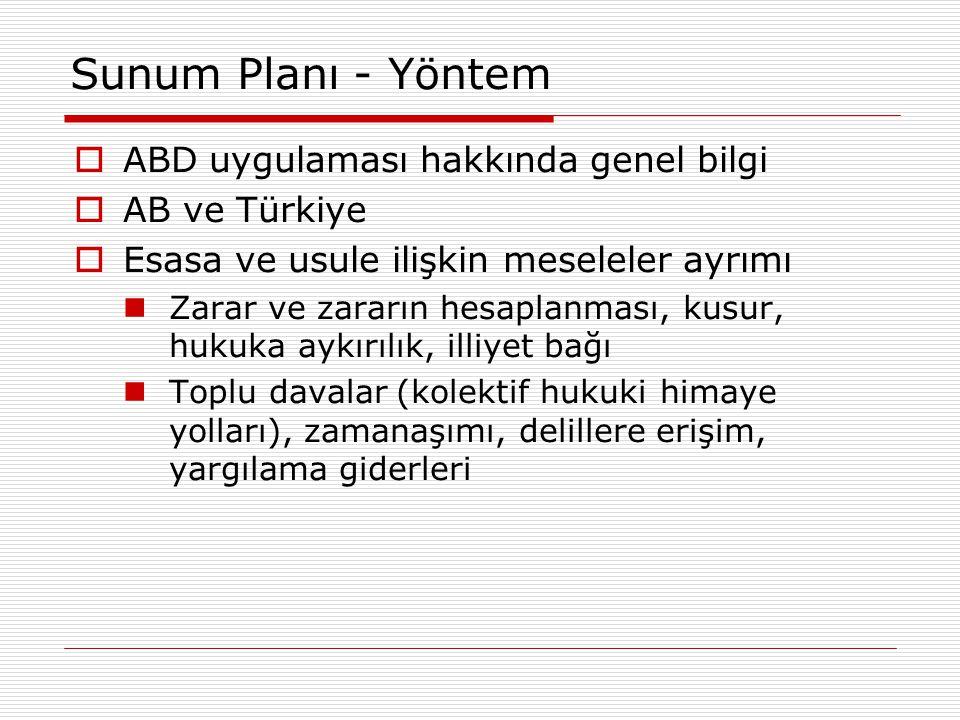 Sunum Planı - Yöntem ABD uygulaması hakkında genel bilgi AB ve Türkiye