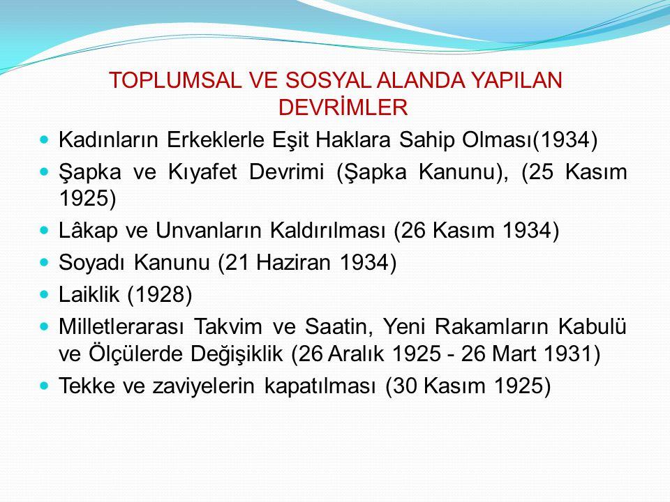 TOPLUMSAL VE SOSYAL ALANDA YAPILAN DEVRİMLER