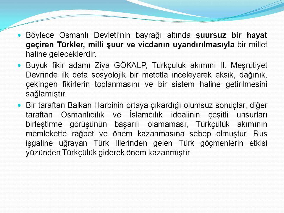 Böylece Osmanlı Devleti'nin bayrağı altında şuursuz bir hayat geçiren Türkler, milli şuur ve vicdanın uyandırılmasıyla bir millet haline geleceklerdir.