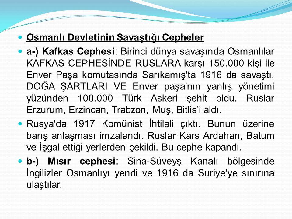 Osmanlı Devletinin Savaştığı Cepheler