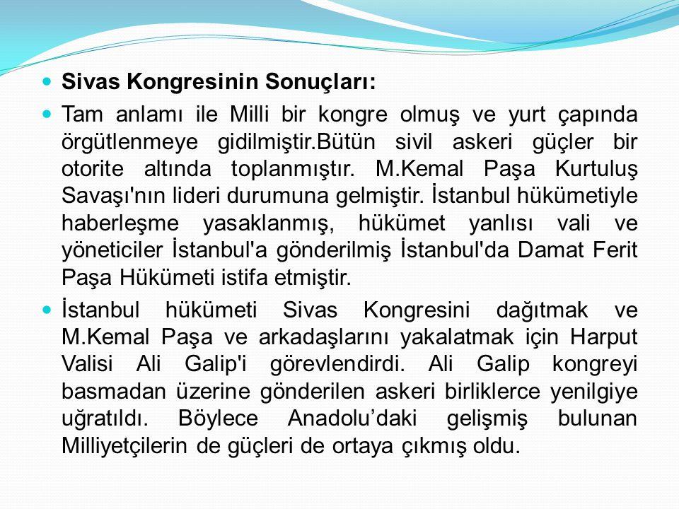 Sivas Kongresinin Sonuçları: